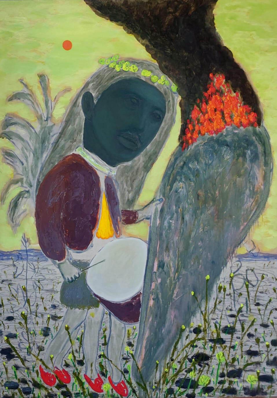GRGUR AKRAP - Lažni prorok / False oracle, 2021. ulje i enkaustika na platnu / oil and encaustics on canvas 80x60cm