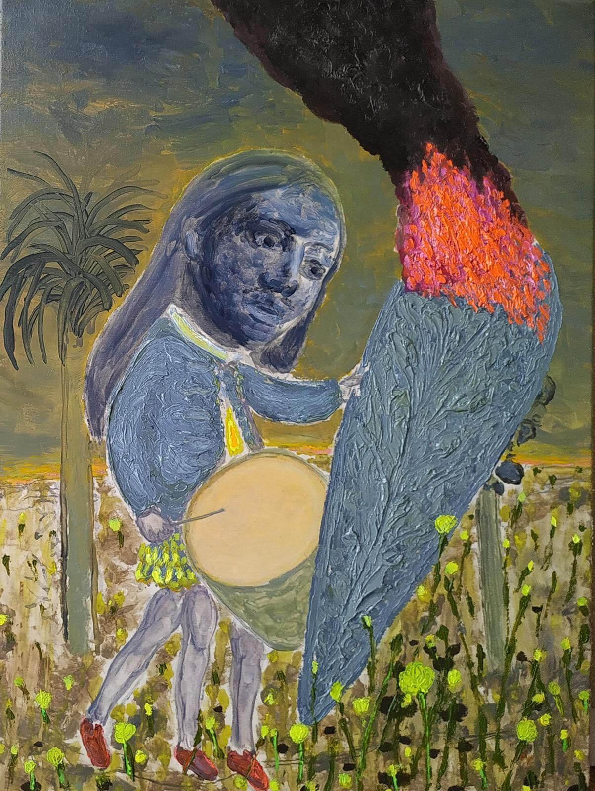 GRGUR AKRAP - Lažni prorok / False oracle, 2021. ulje i enkaustika na platnu / oil and encaustics on canvas 153x108 cm