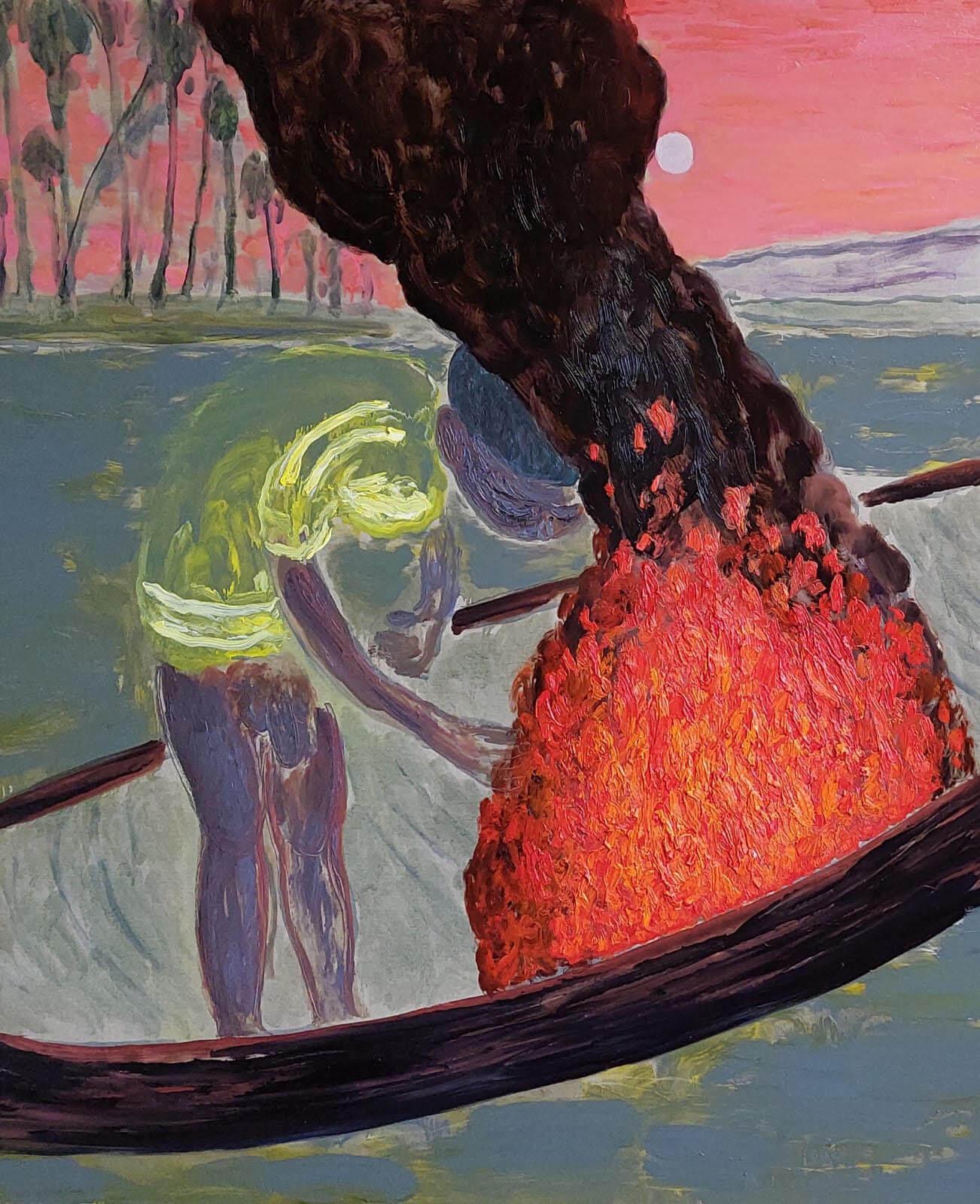 GRGUR AKRAP - Brod koji gori / A burning ship,  2021. ulje i enkaustika na platnu / oil and encaustics on canvas 130x110 cm