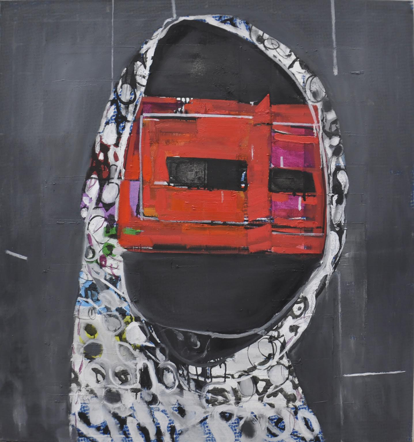 Matko Vekić, The Mask III, oil and varnish on canvas, 81x75 cm, 2015