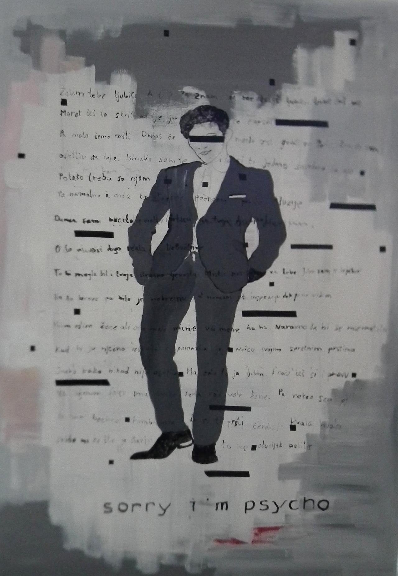 Paulina Jazvić, Sorry I am psycho, oil and acrylic on canvas, 180x130cm, 2014