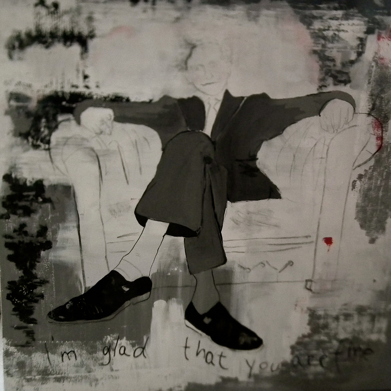 Paulina Jazvić, I am glad that you are fine, oil and acrylic on canvas, 150x150cm, 2014