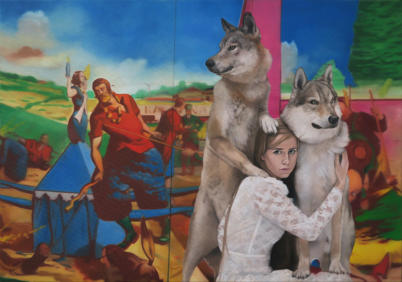 Stjepan-sandrk-Girl-with-wolvesNeo-Rauch-oil-on-canvas-70x100cm-2018
