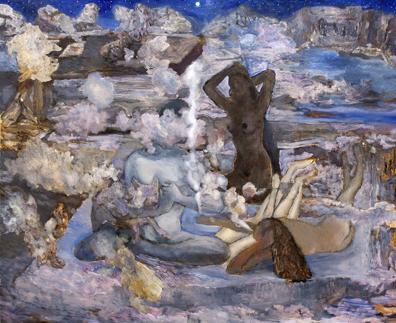 <!--:en--> On Terraces of Jerusalem Seherezada is telling a story, 2014, oil on canvas, 100x120cm<!--:--><!--:hr--> Na terasama Jeruzalema, Šeherezada priča priću, 2014., ulje na platnu, 100x120cm<!--:-->